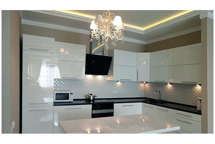 кухня угловая белая с подсветкой купить угловые кухни