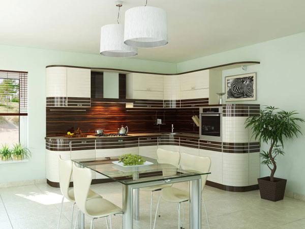 Кухня угловая белая с полосами черного