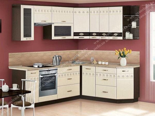 Кухня угловая белая с узорчатыми вставками