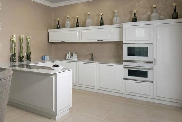 Кухня угловая белая в современном стиле