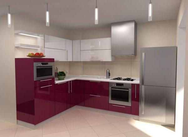 Кухня угловая бело-малиновая