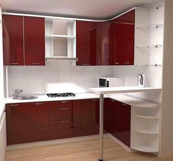 Кухня угловая бордовая с барной стойкой