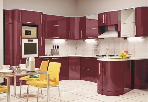 Кухня угловая бордовая с подсветкой
