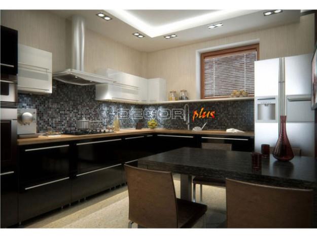 Кухня угловая черная глянцевая «Bonelli»
