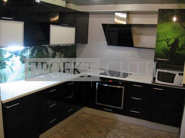 Кухня угловая черный глянец