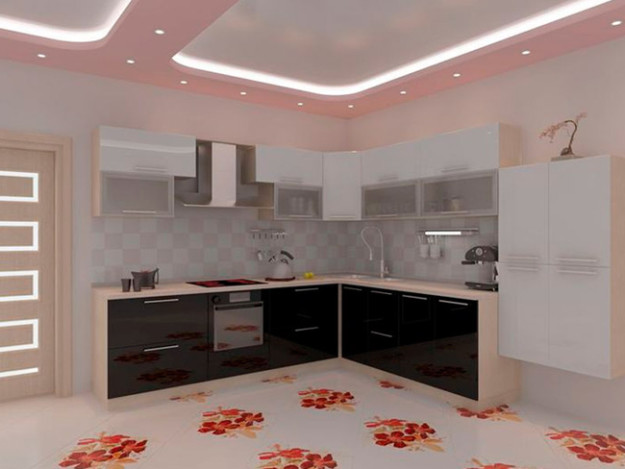 Кухня угловая черно-белая с зеркальным эффектом