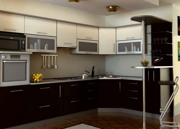 Кухня угловая двухцветная