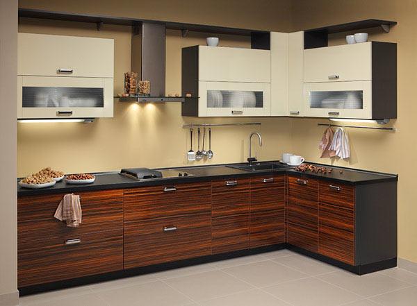 Кухня угловая двухцветная с подсветкой