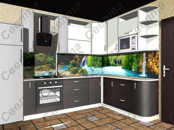 Кухня угловая двухцветная со скинали