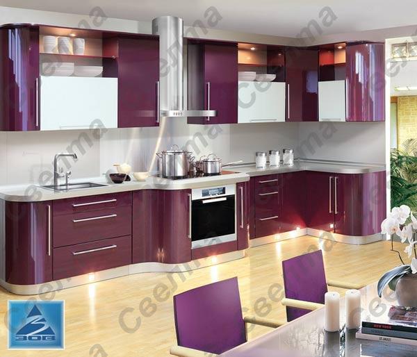 Кухня угловая фиолетовая с подсветкой