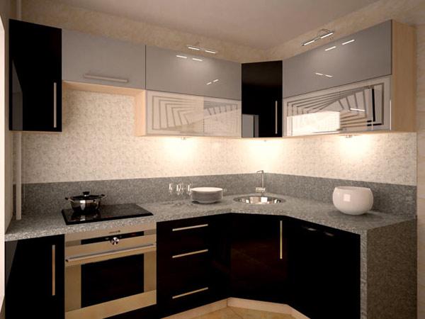 Кухня угловая глянцевая с подсветкой