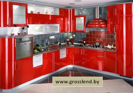 Кухня угловая из красного фасада