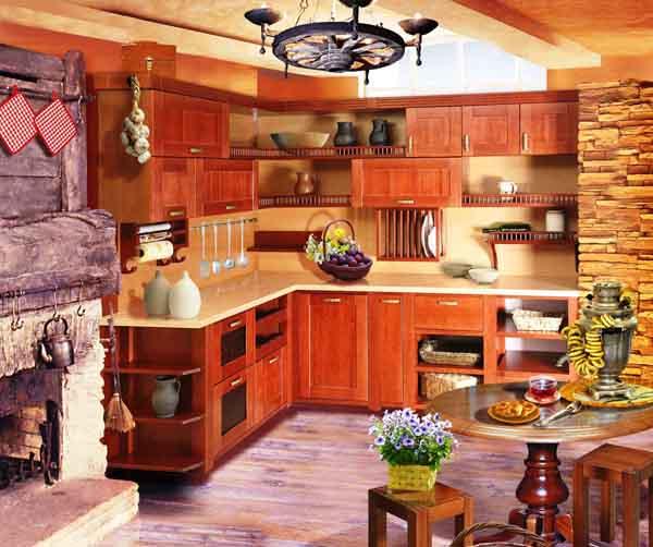 Кухня угловая из массива ольхи К-1