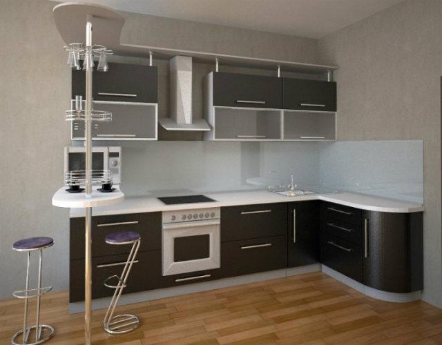 Кухня угловая классическая черно-белая