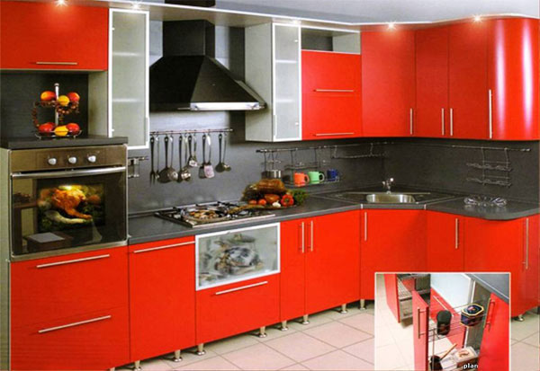 Кухня угловая красная с подсветкой