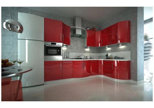 Кухня угловая красный глянец