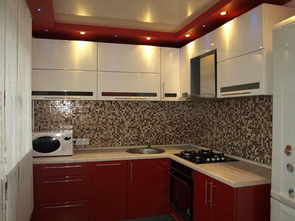Кухня угловая красно-белая
