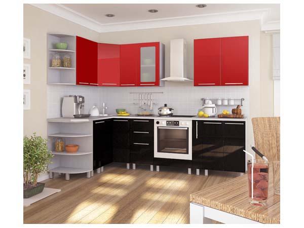 Кухня угловая красно-черная