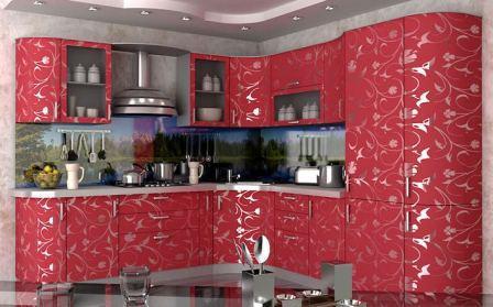 Кухня угловая малиновая