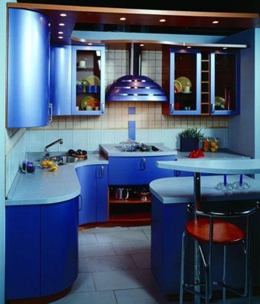 Кухня угловая морского цвета