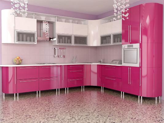 Кухня угловая на металлических опорах