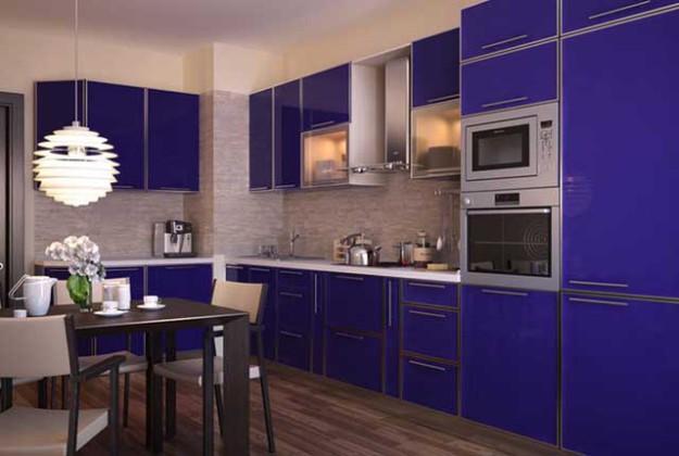 Кухня угловая насыщенно-синего цвета