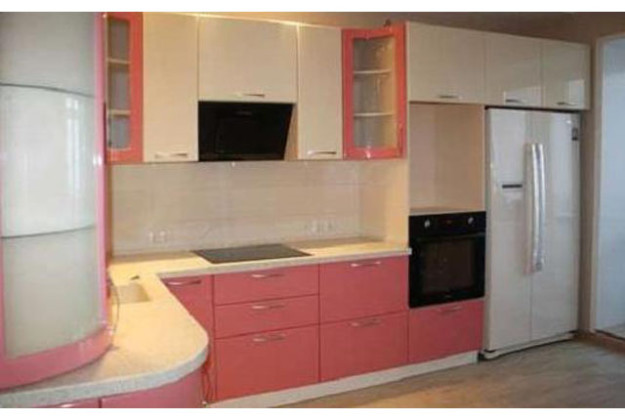 Кухня угловая нежно-розовая