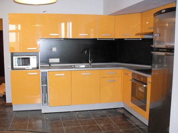 Кухня угловая оранжевый глянец
