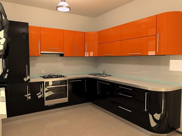 Кухня угловая оранжево-черная