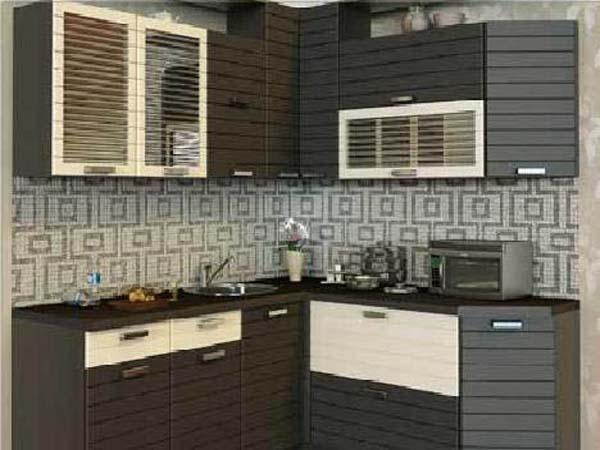 Кухня угловая полосатая