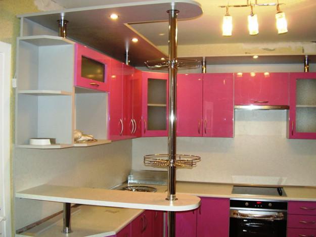 Кухня угловая розовая глянцевая