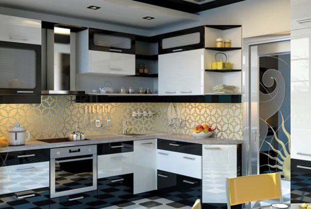 Кухня угловая с черно-белыми вставками