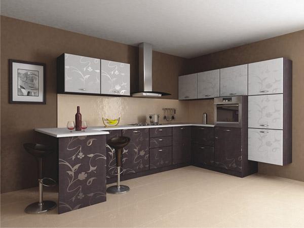 Кухня угловая с декоративным узором