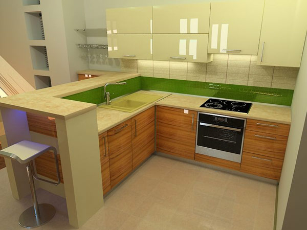 Кухня угловая с двухуровневой столешницей