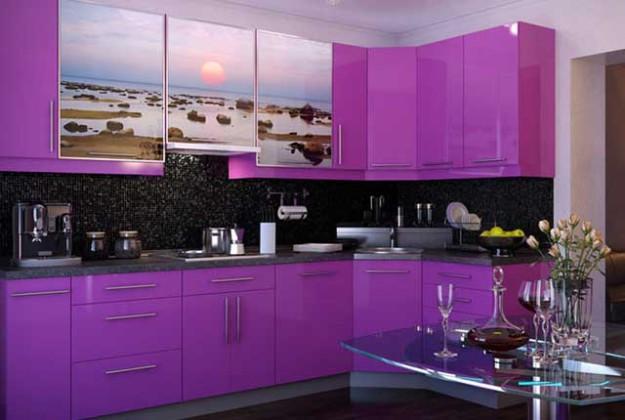 Кухня угловая с фотоизображением