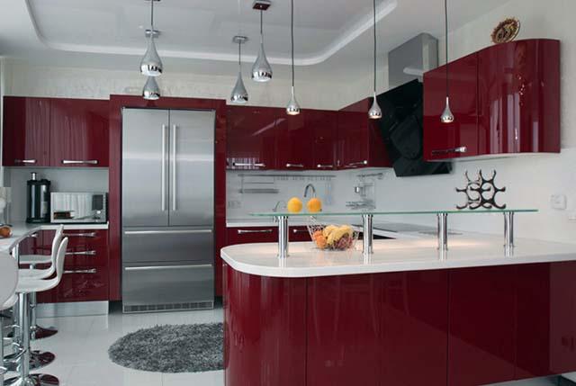 Кухня угловая с закругленными боковинами