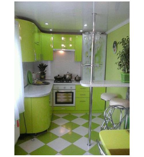 Кухня угловая салатовая компактная