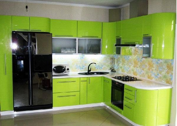 Кухня угловая салатовая с подсветкой