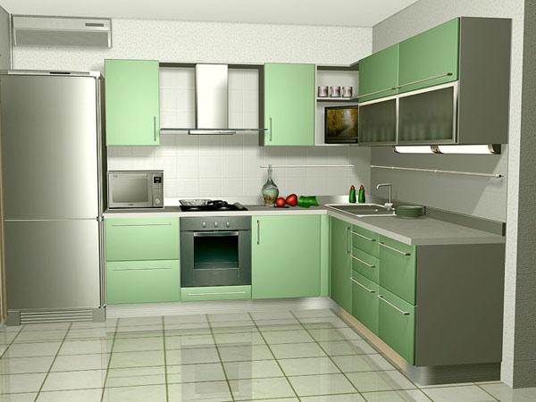 Кухня угловая салатовая с полками