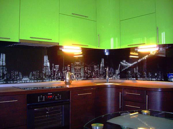 Кухня угловая скинали с фотопечатью