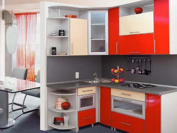 Кухня угловая сливочно-красная