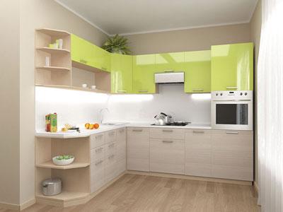 Кухня угловая со светлыми фасадами