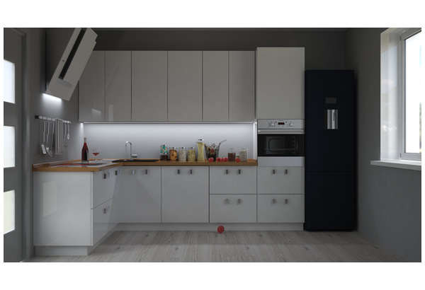 Кухня угловая современная белый глянец