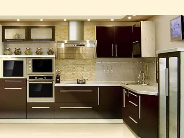 Кухня угловая темный венге