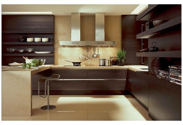 Кухня угловая в цвете темный орех