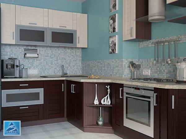 Кухня угловая в двухцветном оформлении