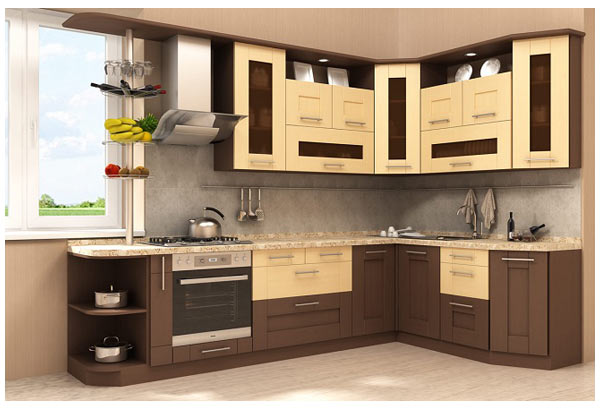 Кухня угловая в коричнево-бежевых тонах