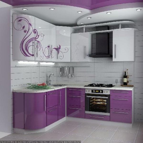 Кухня угловая яркая с узором