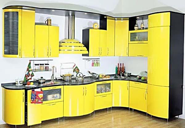 Кухня угловая ярко-желтая