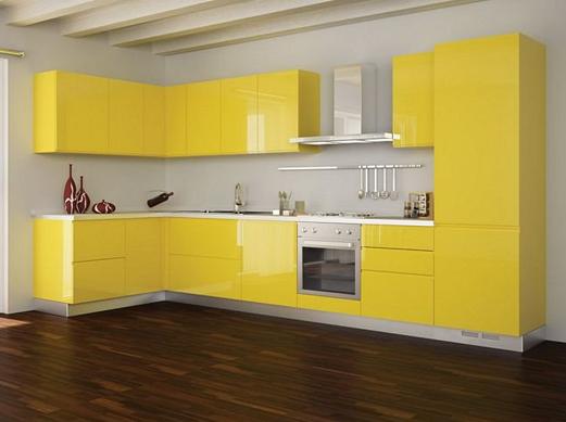 Кухня угловая желтая с автоматической системой открывания